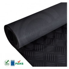 Tranenplaat rubber loper | zwart | 3 mm | 1.00 breed | rol 10 meter