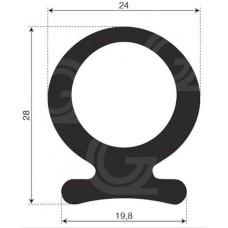 Ohmega profiel | EPDM | 28 x 24 x 19,8 mm | rol 30 meter