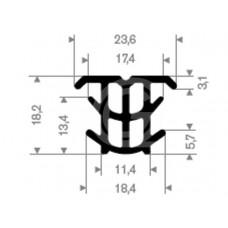 Dilatatieprofiel | EPDM | 18,2 x 23,6 mm | rol 100 meter