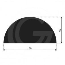Halfrond EPDM Stootprofiel | breedte 30 mm | hoogte 15 mm | Lengte 25mtr