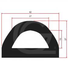 EPDM rubber D-Fender | breedte 42 mm | hoogte 27 mm | Lengte 20mtr