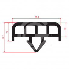 Glaswagenprofiel | EPDM | zwart | 33,5 x 20,7 mm | rol 40 meter