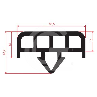 Glaswagenprofiel   EPDM   zwart   33,5 x 20,7 mm   rol 40 meter