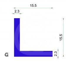 Siliconen Hoekprofiel | Blauw | 15,5 x 15,5 x 2,3 mm | Rol 25 meter