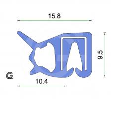 Siliconen klemprofiel met kraal | blauw | FDA keur | 15,8 x 9,5 mm | klem 2,0 - 2,5 mm | rol 25 meter