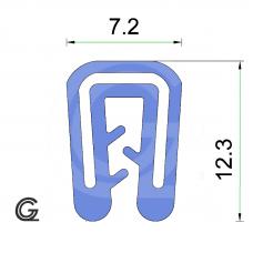 Siliconen kantafwerkprofiel   blauw   FDA keur   7,2 x 10 mm   klem 1,0 - 2,0 mm   rol 50 meter