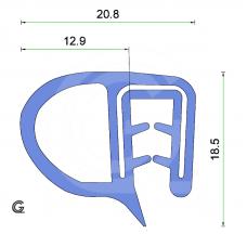 Siliconen klemprofiel met kraal | blauw | FDA keur | 20 x 18,5 mm | klem 2,0 - 4,0 mm | rol 25 meter