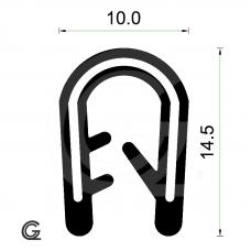 Siliconen kantafwerkprofiel   zwart   FDA keur   10 x 14,5 mm   klem 3,0 - 4,0 mm   rol 50 meter