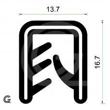 Siliconen kantafwerkprofiel   zwart   FDA keur   13,7 x 16,7 mm   klem 2,5 - 5,0 mm   rol 50 meter