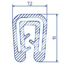 Siliconen kantafwerkprofiel | blauw | FDA keur | 7,2 x 10 mm | klem 1,0 - 2,0 mm | rol 50 meter