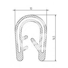 Siliconen kantafwerkprofiel | zwart | FDA keur | 10 x 14,5 mm | klem 3,0 - 4,0 mm | rol 50 meter