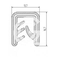 Siliconen kantafwerkprofiel | zwart | FDA keur | 13,7 x 16,7 mm | klem 2,5 - 5,0 mm | rol 50 meter