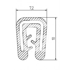 Siliconen kantafwerkprofiel | zwart | FDA keur | 7,2 x 10 mm | klem 1,0 - 2,0 mm | rol 50 meter