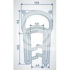 Siliconen klemprofiel met kraal | blauw | FDA keur | 22 x 12,8 mm | klem 1,0 - 3,0 mm | rol 25 meter
