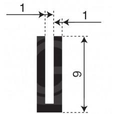 Rubber U Profiel | binnenmaat 1 mm | hoogte 9 mm | dikte 1 mm | Per Meter