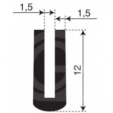 Rubber U Profiel | binnenmaat 1,5 mm | hoogte 12 mm | dikte 1,5 mm | Per Meter