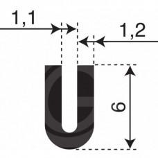 Rubber U Profiel | binnenmaat 1,1 mm | hoogte 6 mm | dikte 1,2 mm | Per Meter
