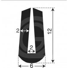 U-profiel | binnenmaat 2 mm | hoogte 12 mm | dikte 2 mm | rol 50 meter