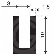 Rubber U Profiel | binnenmaat 3 mm | hoogte 10 mm | dikte 1,5 mm | Per Meter