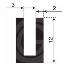 Rubber U Profiel | binnenmaat 3 mm | hoogte 12 mm | dikte 2 mm | Per Meter