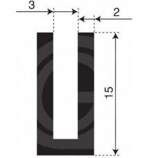 Rubber U Profiel| binnenmaat 3 mm | hoogte 15 mm | dikte 2 mm | Per Meter