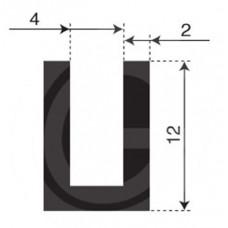 U-profiel | binnenmaat 4 mm | hoogte 12 mm | dikte 2 mm | rol 50 meter