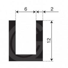 U-profiel | binnenmaat 6 mm | hoogte 12 mm | dikte 2 mm | rol 50 meter
