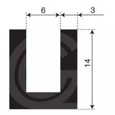 U-profiel | binnenmaat 6 mm | hoogte 14 mm | dikte 3 mm | rol 50 meter