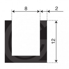 U-profiel | binnenmaat 8 mm | hoogte 12 mm | dikte 2 mm | rol 50 meter
