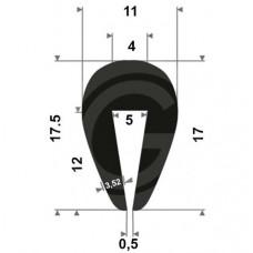U-profiel | binnenmaat 5 mm | hoogte 17 mm | dikte 3,52 mm | rol 50 meter