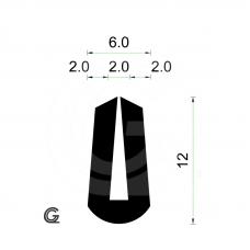 Rubber U Profiel | binnenmaat 2 mm | hoogte 12 mm | dikte 2 mm | Per Meter
