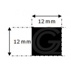 EPDM rubber vierkantsnoer | 12 x 12 mm | rol 50 meter