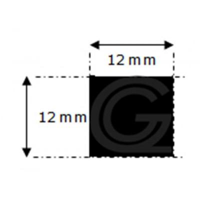 EPDM rubber vierkantsnoer | 12 x 12 mm | per meter
