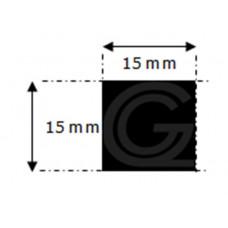 EPDM rubber vierkantsnoer | 15 x 15 mm | rol 25 meter