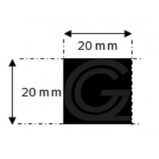 EPDM rubber vierkantsnoer | 20 x 20 mm | rol 10 meter