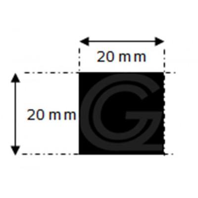 EPDM rubber vierkantsnoer | 20 x 20 mm | per meter