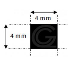 NBR rubber vierkantsnoer | 4 x 4 mm | rol 200 meter