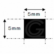 EPDM rubber vierkantsnoer | 5 x 5 mm | per meter