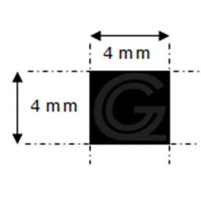 EPDM rubber vierkantsnoer   4 x 4 mm   rol 200 meter