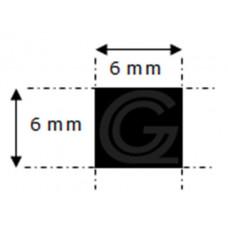 EPDM rubber vierkantsnoer | 6 x 6 mm | rol 100 meter