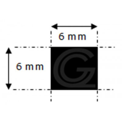 EPDM rubber vierkantsnoer | 6 x 6 mm | per meter