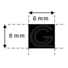 EPDM rubber vierkantsnoer | 8 x 8 mm | rol 100 meter