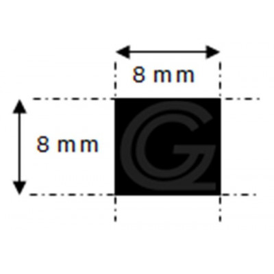 EPDM rubber vierkantsnoer | 8 x 8 mm | per meter